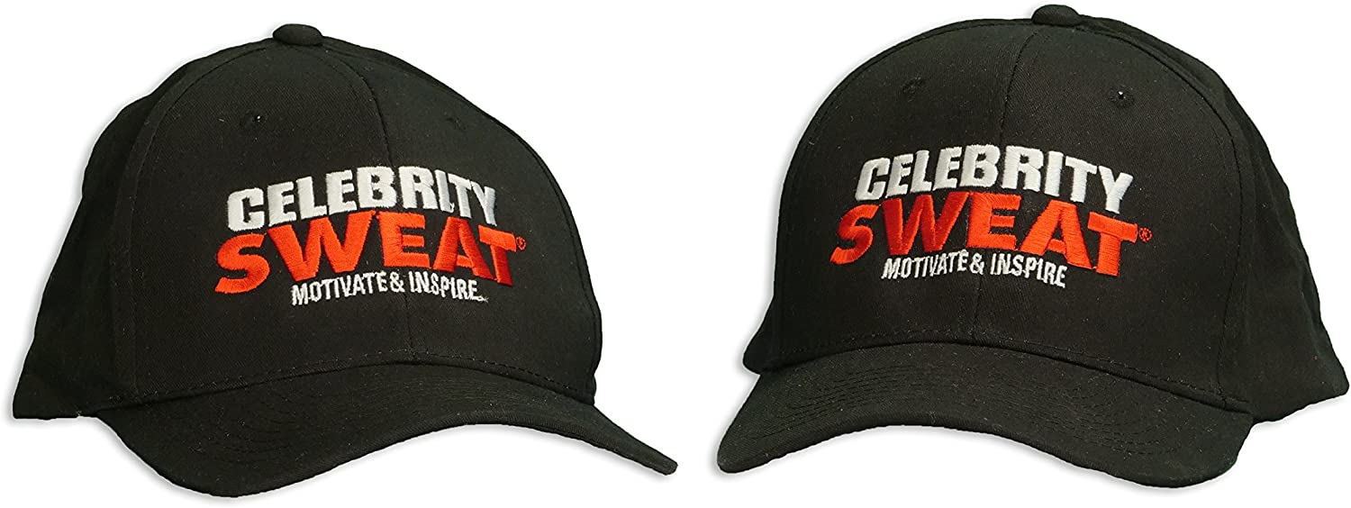 Celebrity Sweat Cap  Black with White and Red Font  As Seen on TV