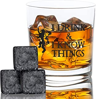 I Drink and I Know Things Whiskey Glass + FREE Whiskey Stones - Bourbon Scotch - Game Of Thrones Inspired - Funny Novelty - With Prestigious Package Gift - By Desired Cart