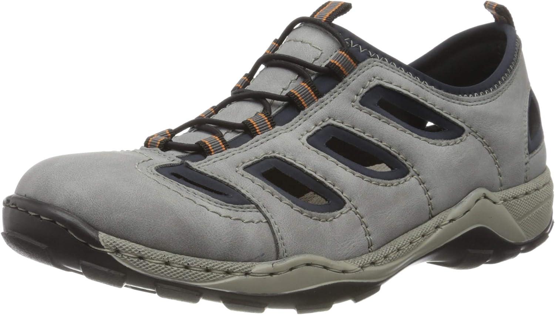 Rieker Men's Loafers, Grey Grigio Navy 45