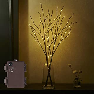 Fudios Lighted Brown Artificial Branch 32IN 100 Warm White LED with Timer Battery Operated for Christmas Party Wedding Dec...