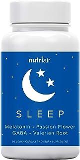 Nutriair Natural Sleep Aid with Melatonin 5mg - Non Habit Forming Sleep Supplement - Wellness Formula for Natural Calm Fee...