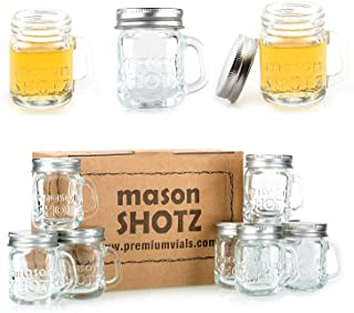 Premium Vials - Mini Mason Jar Shot Glasses with Handles (Set of 8) – Leak-Proof Lids - Great For Shots, Drinks, Favors, C...