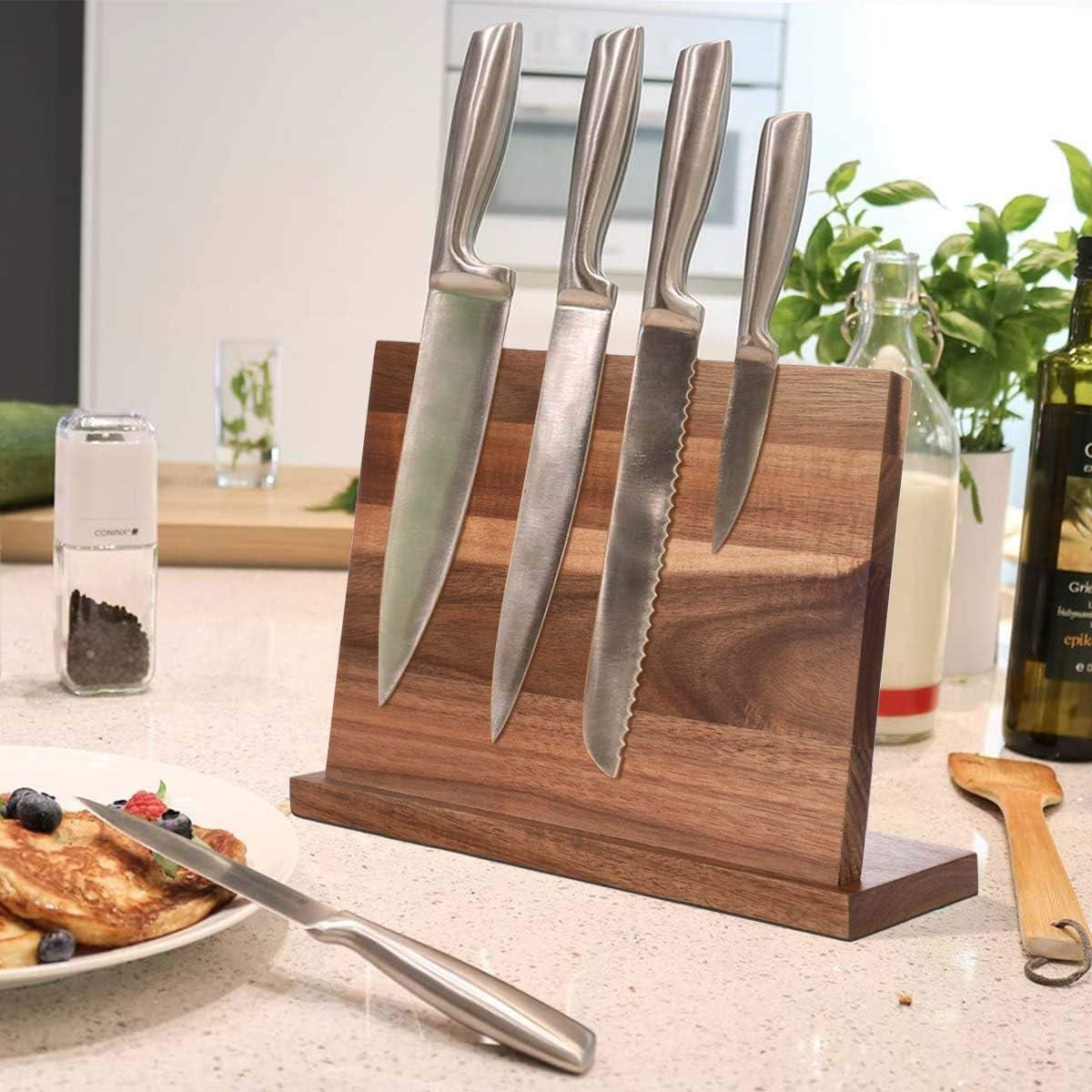 soporte magn/ético de doble cara KINLO Bloque magn/ético para cuchillos de madera de acacia para guardar cuchillos