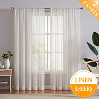 Flax Linen Sheer Curtains 84-inch Long Living Room Vintage Window Panel Drapes for Farmhouse Bedroom Rod Pocket, Natural, 52