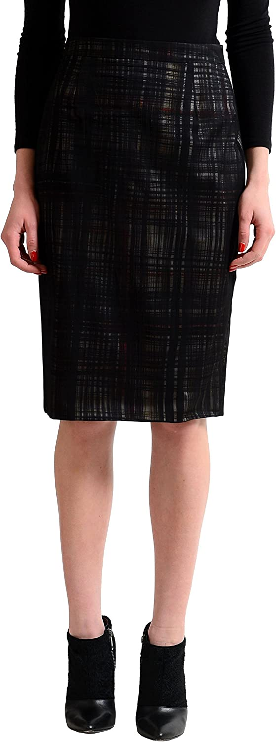 DSQUARED2 100% Silk Multicolor Checkered Women's Pencil Skirt US 4 IT 40