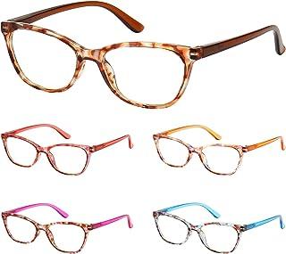 BLS 5 Pack Cateye Blue Light Blocking Reading Glasses, Fashion Computer Readers Anti UV Ray/Eye Strain/Glare Eyeglasses Women