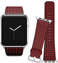 Compatible with Apple Watch (42/44 mm) // Leather Replacement Bracelet Strap Wristband + Adapters // Red Lumberjack Gingham Buffalo Plaid