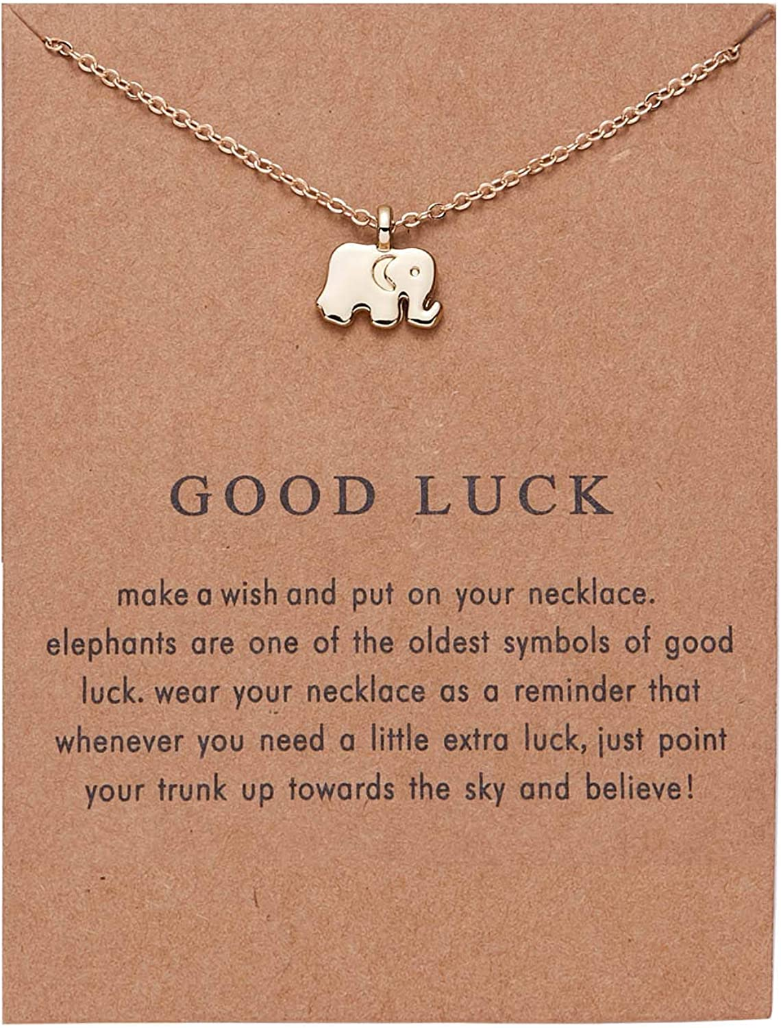 Friendship Butterfly Necklace Elephant Dragonfly Pendant Chain Necklace with Message Card for Women Girls