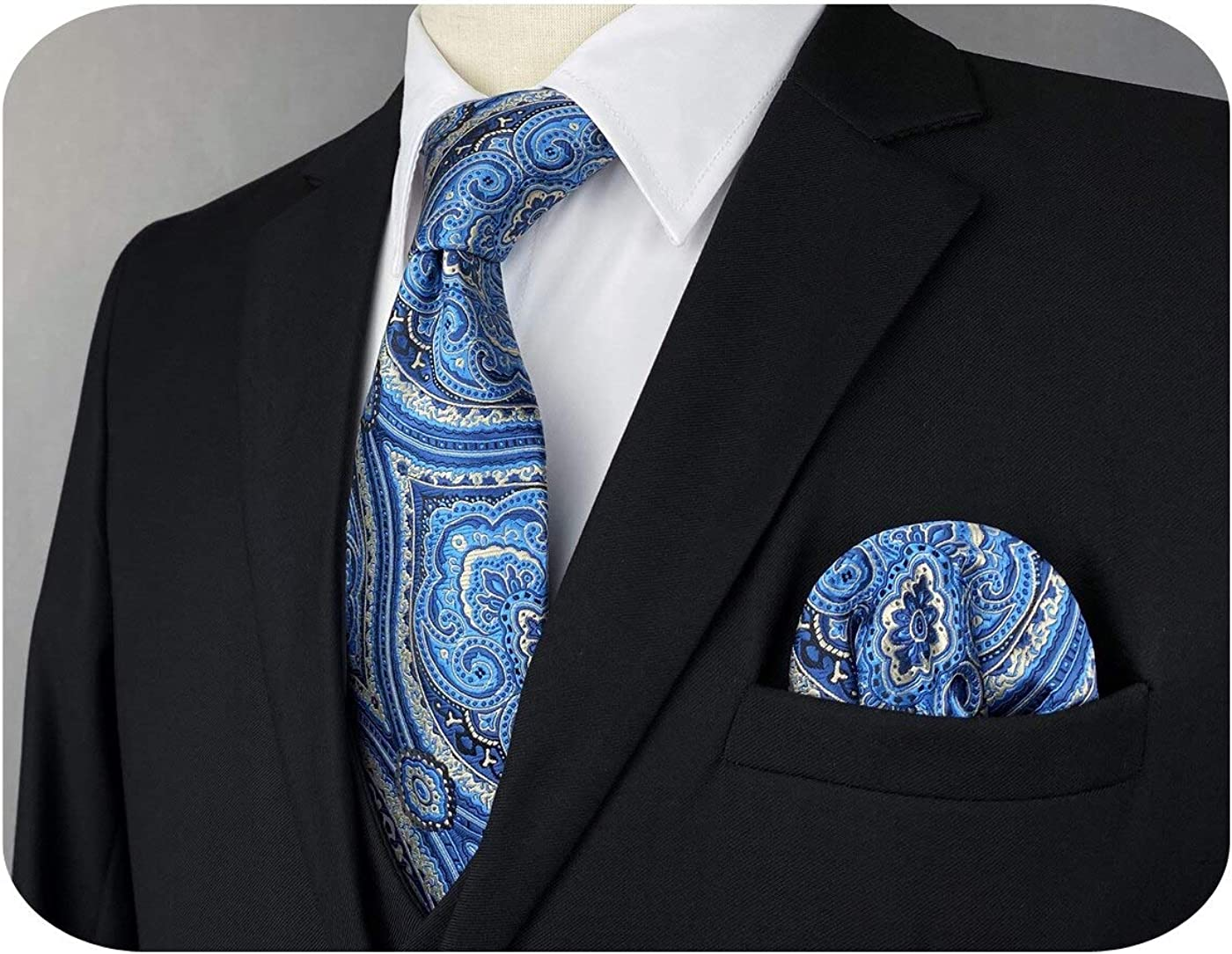 S&W SHLAX&WING Mens Ties Necktie and Hanky Set Blue and Slate Blue