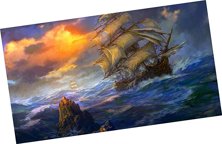 Wowdecor Paint by Numbers Kits for Adults Kids, Number Painting - Pirate Ship 16x20 inch (Framed)