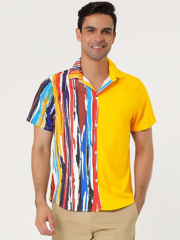 Lars Amadeus Men's Patchwork Striped Color Block Button Down Short Sleeves Irregular Geometric Shirts