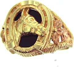 product image for Quality Yellow-gold Onyx Black Hills Gold Men's/ladies Horseshoe Ring