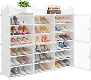 MAGINELS Portable Shoe Rack, 36-Pair DIY Shoe Storage Shelf Organizer, Plastic Shoe Organizer for Entryway, Shoe Cabinet with Transparent Doors, White