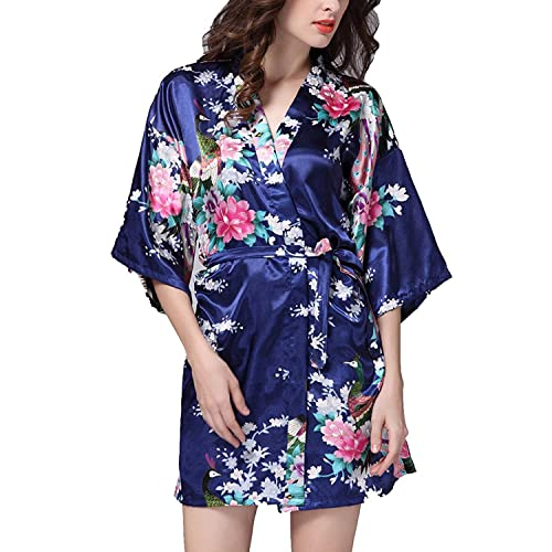 2e0486d938 Hammia Women s Bridesmaid Robes Short Peacock Blossoms Kimono Robe Dressing  Gown Floral Robes