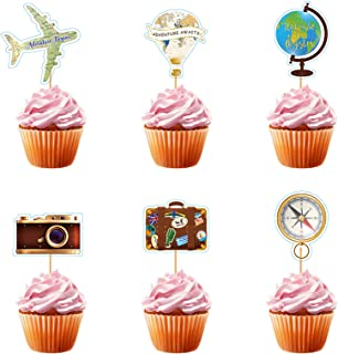 YWWQ 24pcs Adventure Travel Theme Cupcake Toppers Airplane Cupcake Toppers Map Heart Cake Toppers for Travel Themed Baby S...