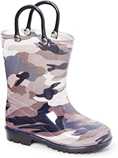 Storm Kidz Kids Boys Camo Rainboots Toddler/Little Kid/Big Kid Sizes Green Gray Blue Camouflage with Handles