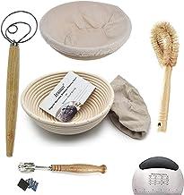 2 Pack of 10 Inch round Bread Banneton Proofing Basket French Style Artisan Sourdough Bread Basket Bakeware Set (Linen Lin...
