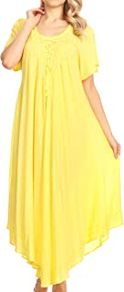 Lilia Embroidered Lace Up Bodice Relaxed Fit Maxi Sun Dress