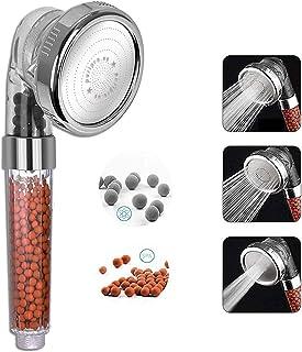 Spa Shower Head - Shower Filter - Negative Ion Shower Head - 3 Settings - Rainfall, Jet, Massage. Water Saving Pressure In...
