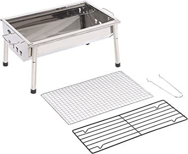 Charcoal Grill Barbecue Portable BBQ - Stainless Steel Folding BBQ Kabab grill Camping Grill Tabletop Grill Hibachi Grill for