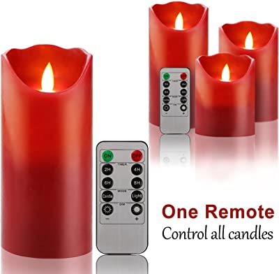 """NovoGifts Flameless Candles Electric Battery Candle Set of 3 (4"""" 5"""" 6"""") Ivory & Red LED Candles with Simulated Whirling LED Flames and 10-key Remote Control"""