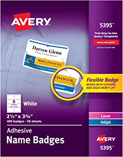 Avery 5395 Adhesive Name Badge Labels, Rectangular, White, Box of 400