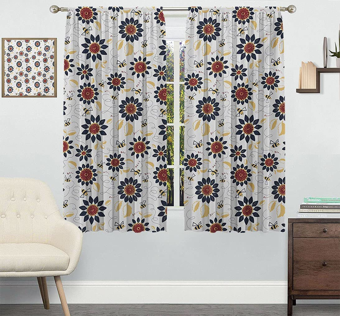 Outlet ☆ Free Shipping Bee Bedroom Curtains Sunflowers with Flyaway and Ranking TOP16 Leaves Funny B