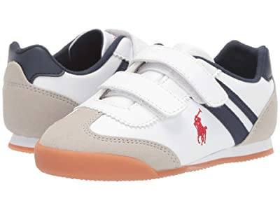 Polo Ralph Lauren Kids Emmons EZ (Toddler) (White Smooth/Light Grey Microsuede/Navy/Red Pony Player) Kid