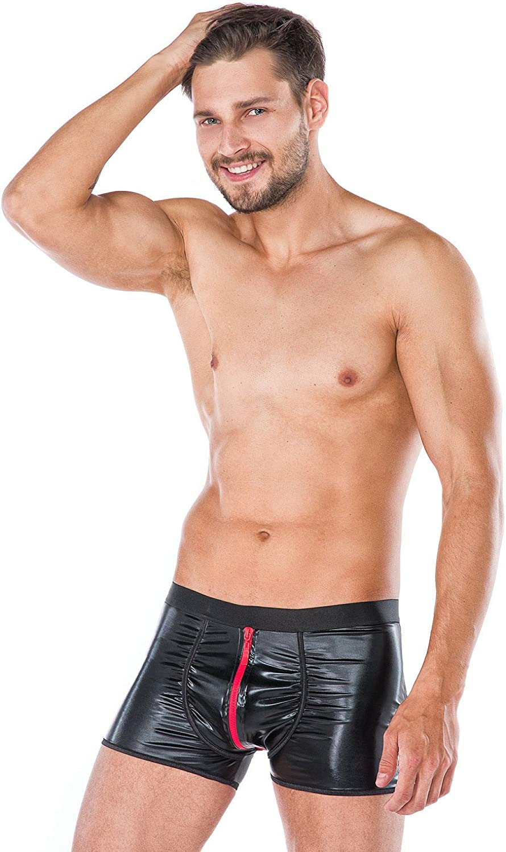 Wetlook-Boxershorts mit Reißverschluss Herrenslip Slip Männer Unterhosen Andalea