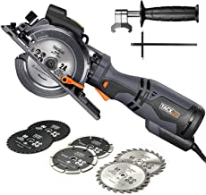 "TACKLIFE Compact Circular Saw with 6 Blades (4-3/4"" & 4-1/2""), Laser Guide, 5.8A, Cutting Depth 1-11/16'' (90°), 1-3/8'' (45°), Metal Handle, Versatile for Wood, Soft Metal, Tile and Plastic Cuts"