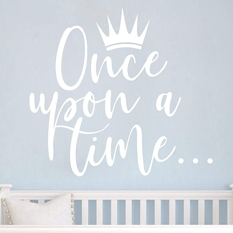 JURUOXIN Once Upon A Time With Crown Wall Sticker Art Vinyl Home Quote Decals For Kids Girl Princess Room Nursery Decoration House Interior Design YMX38 White 42X38CM