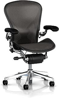 Executive Aeron Chair by Herman Miller - Polished Aluminum Frame - Leather Arms - PostureFit Lumbar - Carbon Classic Size C (Large)