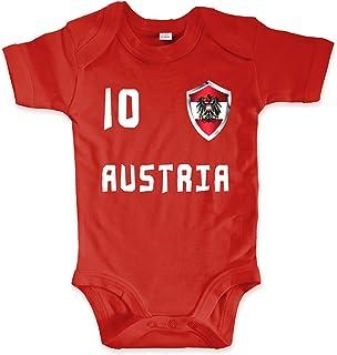 net-shirts Organic Baby Body mit Austria Österreich Trikot 02 Aufdruck Fußball Fan WM EM Strampler - Spielernummer wählbar, Größe 00-03 Monate-Spielernummer 10