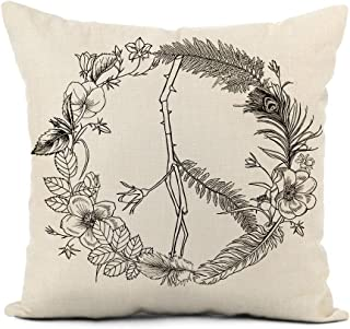 rouihot Linen Throw Pillow Cover Flower Boho Hippie Peace Sign Wreath Floral Hand Love Home Decor Pillowcase 20x20 Inch Cushion Cover for Sofa Couch Bed and Car