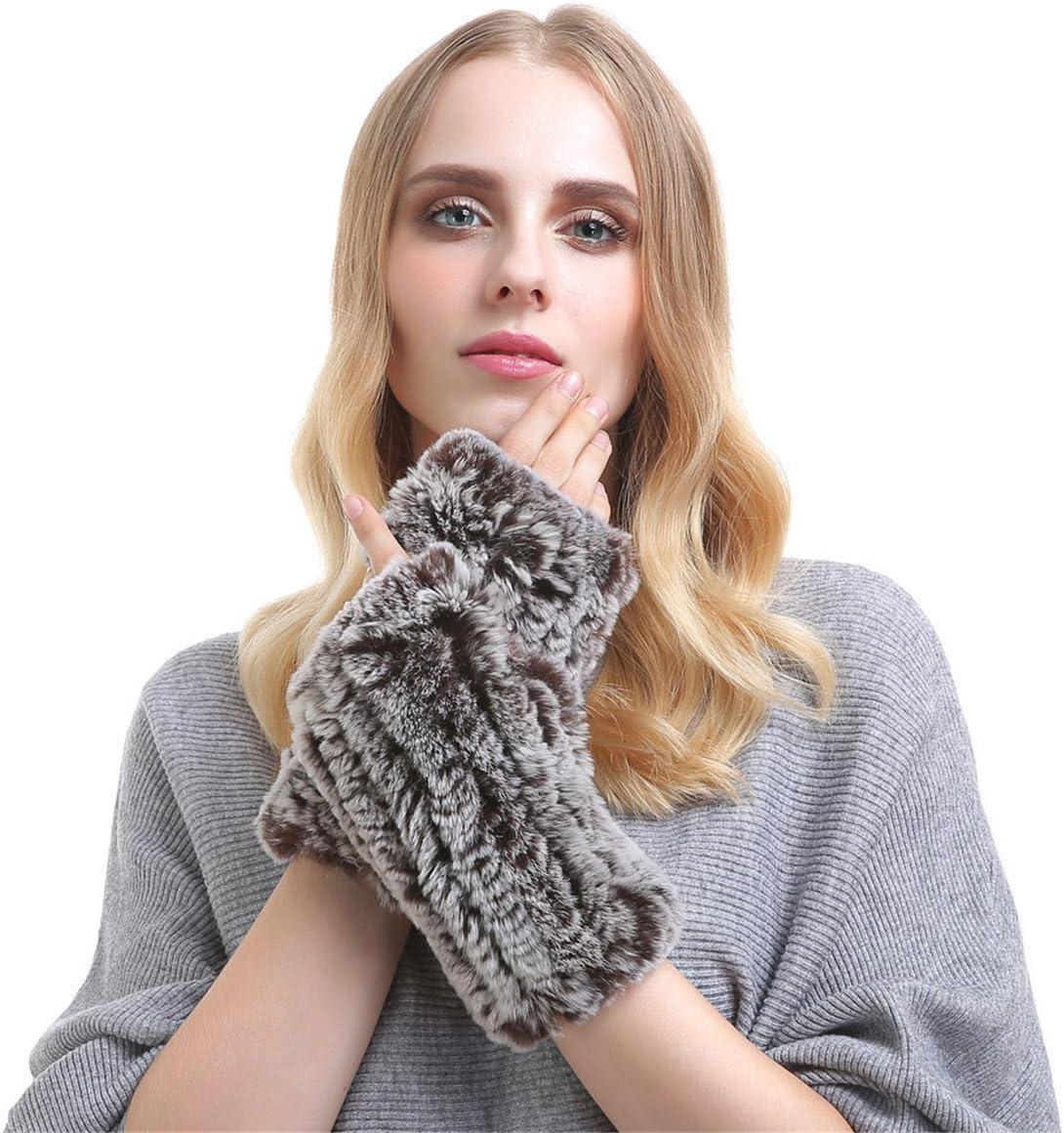 Qhome Women's Touchscreen Short Fingerless Cony Hair Knitted Gloves Warm Elastic Woven Wristbands