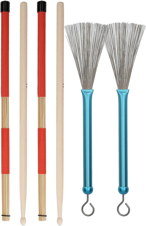 Drum Stick Brush Set Aluminum Retractable Brush with Metal Handle 19 Beam Stick 5A Bamboo Drum Stick Percussion Accessories Blue