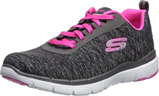 SKECHERS Flex Appeal 3.0, Women's Fitness & Cross Training Shoes, Black (Black/Hotpink)