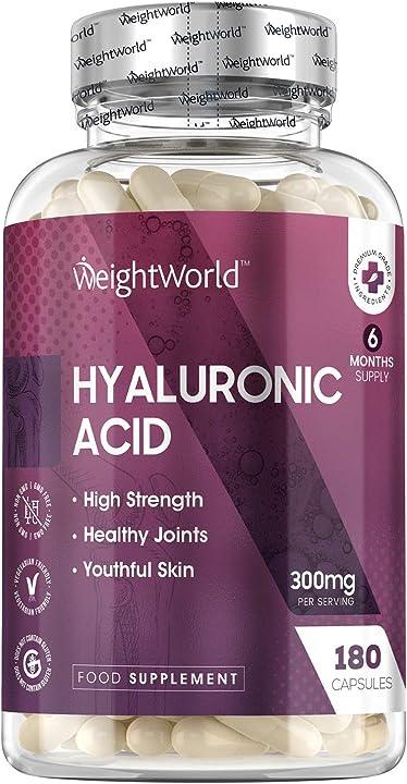 Acido ialuronico integratore forte 300mg, elevata biodisponibilità - 180 capsule vegan per donna e uomo 5056128123782