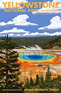 Yellowstone National Park, Wyoming - Grand Prismatic Spring (12x18 Art Print, Wall Decor Travel Poster)
