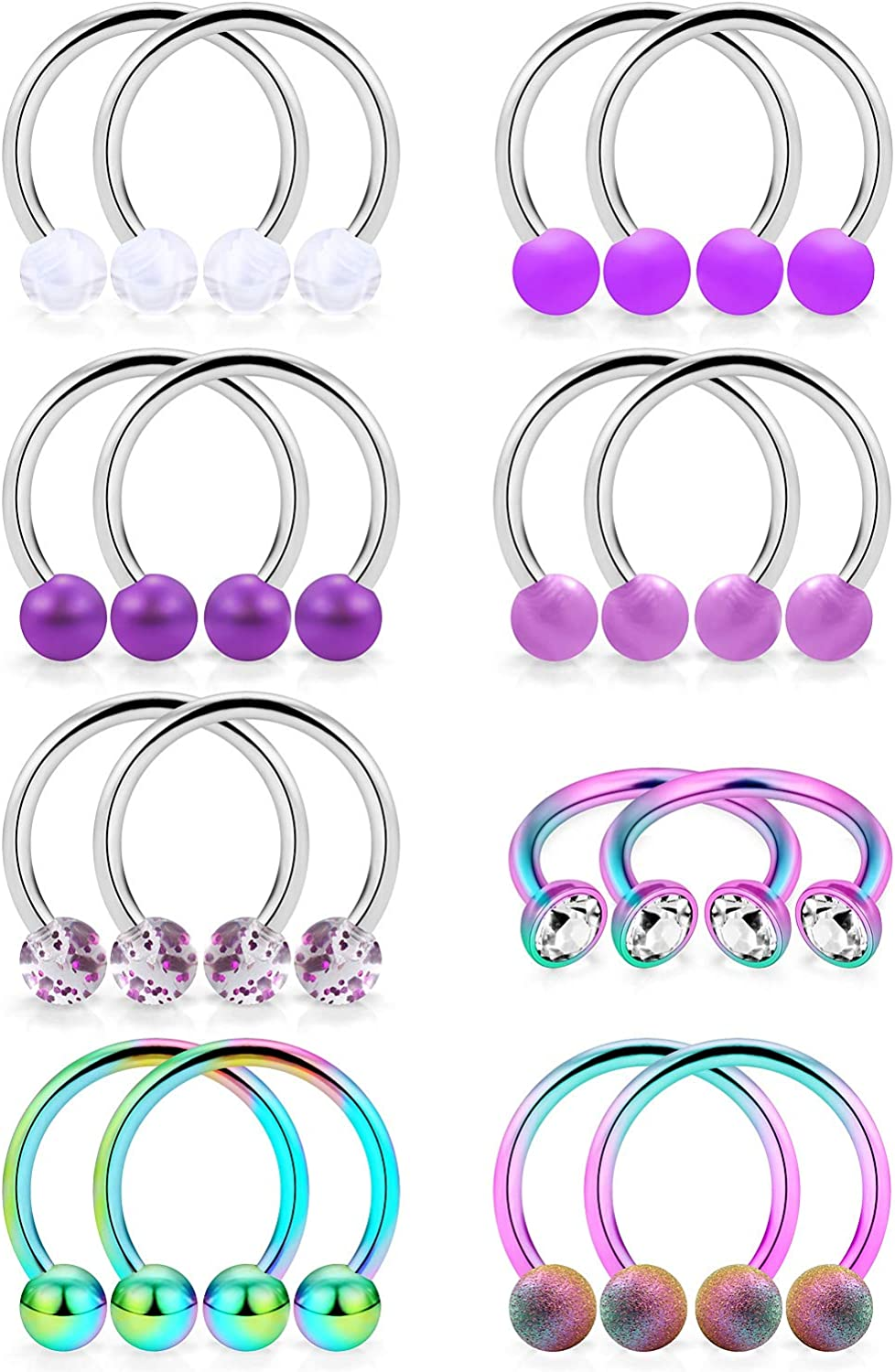 Cisyozi Sales Ultra-Cheap Deals results No. 1 8 Pairs 14G Stainless Horseshoes Hoop Nipple Rings Steel