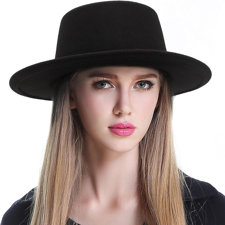 GEMVIE Womens Vintage Felt Fedora Hat Flat Top Bowler Boater Hat Wide Brim Elegant Church Derby Fedora Hat