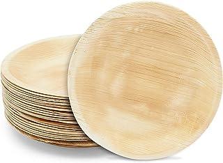 أطباق أوراق النخيل من أريكا، أطباق طعام مستديرة غير لامعة للاستخدام مرة واحدة (25.4 سم، 24 قطعة)