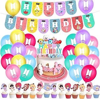 BTS Birthday Party Supplies 40PCS BTS Conjunto de Decoración de cumpleaños BTS Cupcake Toppers Banner Globos Happy Birthda...