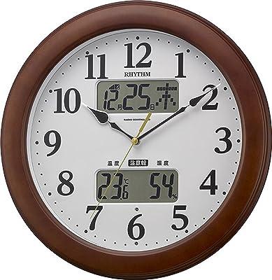 リズム(RHYTHM) 掛け時計 電波 アナログ インフォームナビM623 温度 ・ 湿度 計 警告 音付き 木 茶 (半艶仕上) RHYTHM 4FY623SR06
