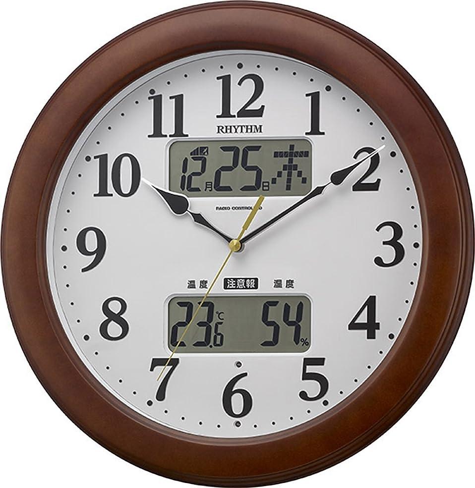宝石フラグラントすばらしいですリズム時計 掛け時計 電波 アナログ インフォームナビM623 温度 ? 湿度 計 警告 音付き 木 茶 (半艶仕上) RHYTHM 4FY623SR06