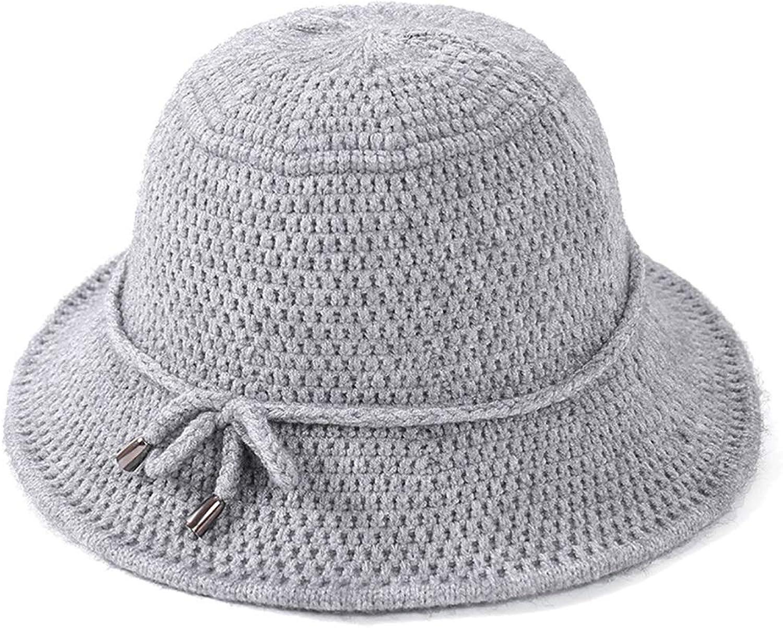 Warm Knit Cap Foldable Ladies Solid color Wool Cap Wool Cap Twisted Fisherman Hat