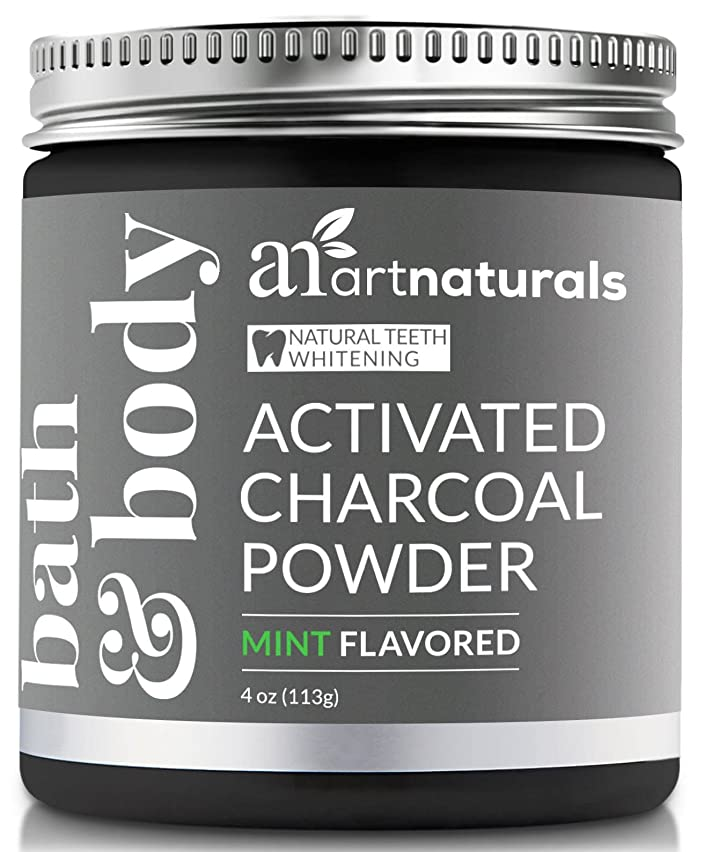 針豆腐サッカーArtNaturals Teeth Whitening Charcoal Powder - (4 Oz / 113g) - Activated Charcoal for a Natural, Non-Abrassive Whitening - Mint Flavored