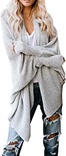 HZSONNE Women's Shawl Collar Hollow Out Mesh Batwing Sleeve Lightweight Thin Knitted Slouchy Blouse Cardigan Summer Spring