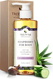 Tree To Tub Moisturizing Body Wash for Dry Skin - pH Balanced Body Wash for Sensitive Skin. Lavender Soap with Organic She...