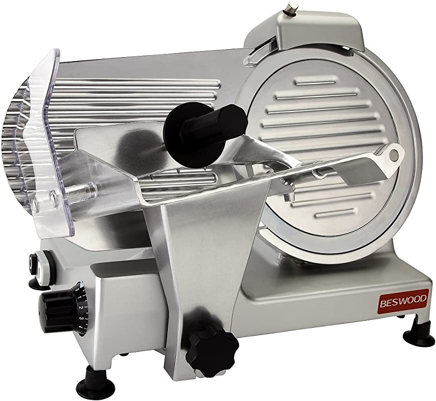 BESWOOD 10 Premium Chromium Plated Carbon Steel Blade Electric Deli Meat Cheese Food Slicer Commercial And For Home Use 240W BESWOOD250